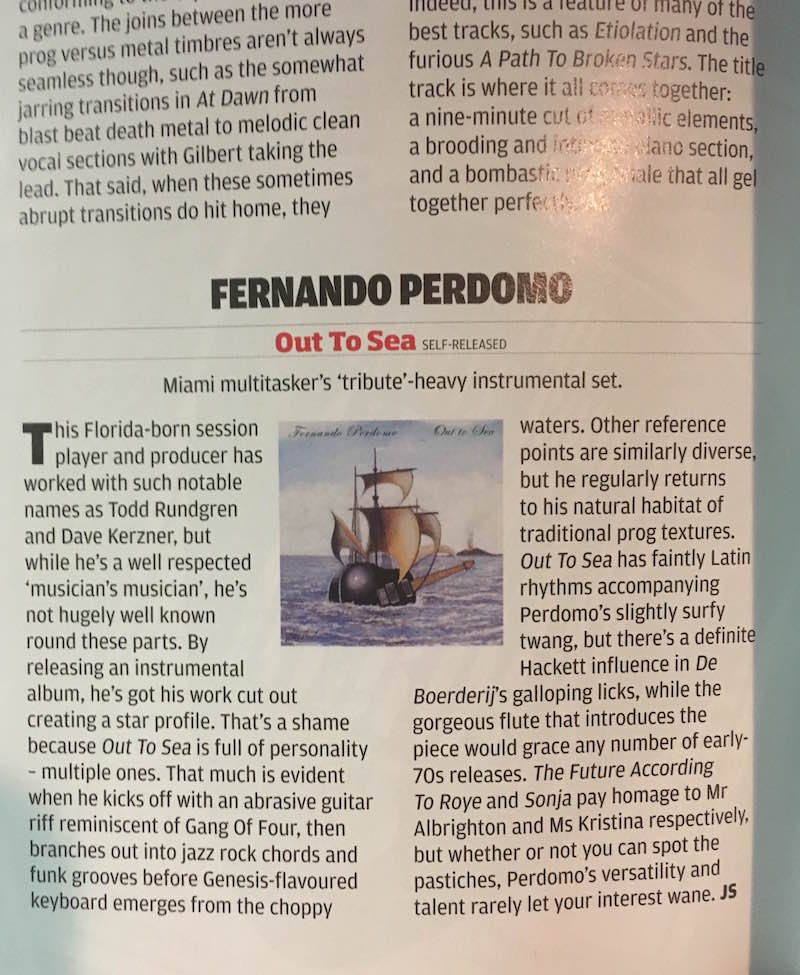 """Out To Sea"" Review in Prog Magazine issue 85"